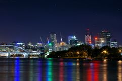 Brisbane River City @ Nite. This image is superb quality - noise free and clear. The lights have rays not halos thanks to a very nice lens set with a narrow Stock Photo