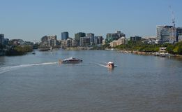 Brisbane River Ferries Morning Panorama, Queenland Australia Royalty Free Stock Photos
