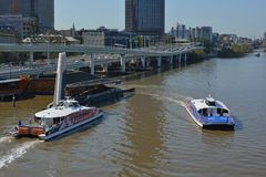 Brisbane River Ferries Morning Panorama, Queenland Australia Stock Photo