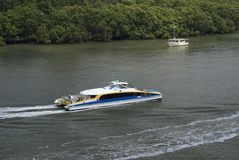 Brisbane river with ferry Royalty Free Stock Images