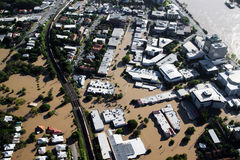 Brisbane River Flood January 2011 Aerial View Milt. Aerial view of the suburb of Milton during the great Brisbane Flood of 2011, the worst flooding disaster in Royalty Free Stock Photography