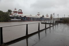 Brisbane River and Flooded Breakfast Creek Wharf royalty free stock photography