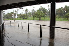 Brisbane River Flooding Breakfast Creek Wharf Stock Image