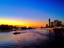 Brisbane river at sunset blue yellow water river Queensland Australia royalty free stock image