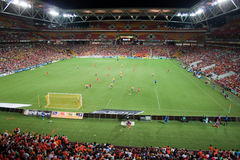 Brisbane Roar at Suncorp Stadium. The Brisbane Roar at home at Suncorp Stadium v Gold Coast United in the A-League M1Derby. February 12, 2011. The first time the stock photo