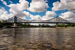 Brisbane`s famous Story Bridge. Dramatic clouds over the Story Bridge - a heritage-listed steel cantilever bridge spanning the Brisbane River that carries Royalty Free Stock Photos