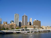 Brisbane Skyline Across the River. Brisbane City from the Victoria Bridge, with Riverside expressway in the foreground Stock Photography