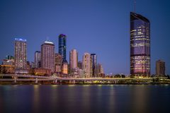 Brisbane skyline, capital of Queensland, Australia. The Brisbane central business district CBD, officially gazetted as the suburb of Brisbane City and royalty free stock images