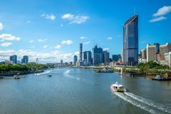 Brisbane skyline, capital of Queensland, Australia. The Brisbane central business district CBD, officially gazetted as the suburb of Brisbane City and stock photos