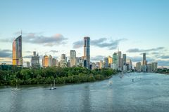 Brisbane skyline, capital of Queensland, Australia. The Brisbane central business district CBD, officially gazetted as the suburb of Brisbane City and stock photo