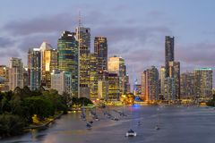 Brisbane skyline, capital of Queensland, Australia. The Brisbane central business district CBD, officially gazetted as the suburb of Brisbane City and royalty free stock photos