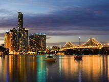 Brisbane Skyline from Eagle Street Pier Stock Images