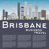 Brisbane skyline with grey building, blue sky and copy space. Business travel concept. Vector illustration Royalty Free Stock Photo