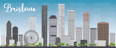 Brisbane skyline with grey building and blue sky. Vector illustration Royalty Free Stock Images