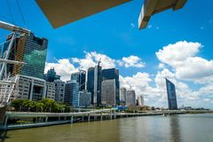 Brisbane skyline on a hot summer day in Australia royalty free stock photography