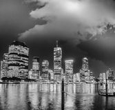 Brisbane skyline at night with river reflections.  Royalty Free Stock Photos