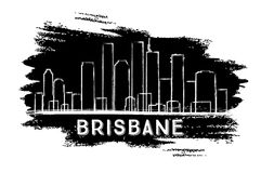 Brisbane Skyline Silhouette. Hand Drawn Sketch. Business Travel and Tourism Concept with Historic Architecture. Image for Presentation Banner Placard and Web Stock Image