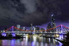 Brisbane Skyline. With Story Bridge in front royalty free stock photos