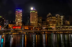 Brisbane Southbank. This picture was taken from Brisbane Southbank from a point in front of Brisbane Wheel. It was taken on 8 second exposure and later edited in Royalty Free Stock Image