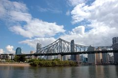 Brisbane Story bridge. Against blue sky and skyscrapers background Royalty Free Stock Image