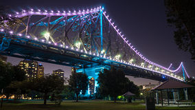 The Brisbane Story Bridge at night. A view of the story bridge in Brisbane in Australia. Photo taken just before nightfall and shot at the lower southeast side stock photos