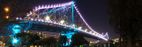 36x12 inch Brisbane Story Bridge Panorama Royalty Free Stock Photo