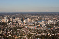 Brisbane and suburbs Aerial View. Aerial View of Brisbane in Queensland in Australia showing city and suburbs Royalty Free Stock Image