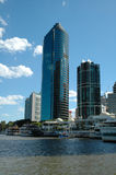 Brisbane Tower. Buildings on the Brisbane River business district Royalty Free Stock Photo