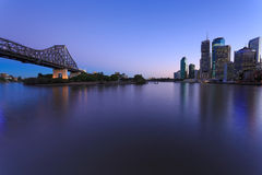 Brisbane at twilight. With story bridge in foreground (brisbane, queensland, australia Stock Photography