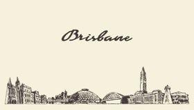 Brisbane un grand vecteur du Queensland Australie d'horizon illustration stock