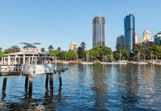 Brisbane waterfront with historic pier in foreground Royalty Free Stock Image