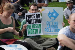 BRISBANE World Enviroment Day. BRISBANE, AUSTRALIA - JUNE 6 : man enviromental protest signs at say Yes rally during World Enviroment Day 6, 2011 in Brisbane royalty free stock photos