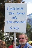 BRISBANE World Enviroment Day. BRISBANE, AUSTRALIA - JUNE 6 : man with pro carbon tax sign during World Enviroment Day say yes protest 6, 2011 in Brisbane royalty free stock photography