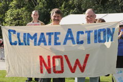 BRISBANE World Enviroment Day. BRISBANE, AUSTRALIA - JUNE 6 : Men with climate action now sign at say Yes to carbon tax World Enviroment Day protest 6, 2011 in stock image
