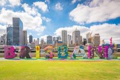 Brisbane-Zeichen für kulturelle Feiern G20 in Südufer Lizenzfreie Stockfotos