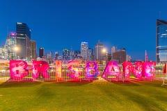 Brisbane-Zeichen für kulturelle Feiern G20 in Südufer Lizenzfreies Stockfoto