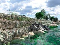 Brise-lames avec les portes et le vieux bateau de pêche Photo stock