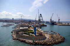 Brise-lames dans le port de Livourne photographie stock