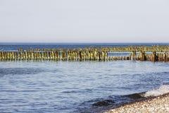Brise-lames en bois partiellement décomposés en eaux de mer Images stock