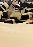 Brise-lames sur la plage de Cadix, Andalousie, Espagne Image stock