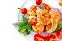 Brisket chunks on vegetables Stock Image