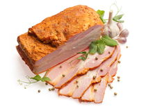 Brisket decorated with garlic, pepper and pea... Royalty Free Stock Image