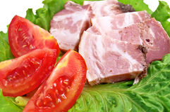 Brisket with tomatoes and lettuce Stock Image