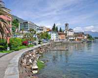 Brissago,提契诺州小行政区,湖Maggiore,瑞士 免版税库存图片