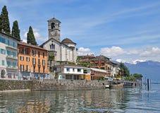Brissago,提契诺州小行政区,湖Maggiore,瑞士 免版税库存照片