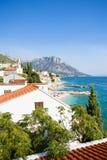 Brist, Dalmatien, Kroatien - Überblick über dem schönen Strand von Brist stockbilder