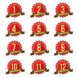 1-12 brister nummerstarburst, det /Anniversary emblemet stock illustrationer