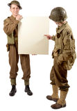 Bristish and american soldier present a plate Stock Photo