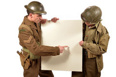 Bristish and american soldier show a poster. On the white background stock photos