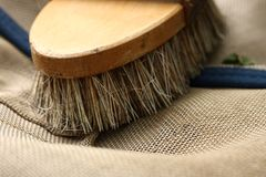 Bristle brush. Equine accessories, bristle brush for horses royalty free stock photography
